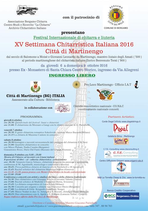 Locandina XV settimana chitarristica italiana 2016