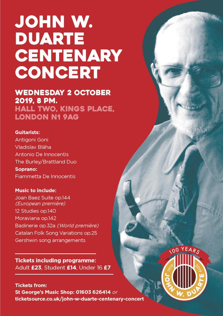 John W. Duarte Centenary Concert Poster